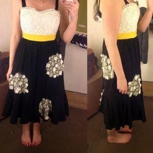 Anthropologie Dandelion Wish strapless dress